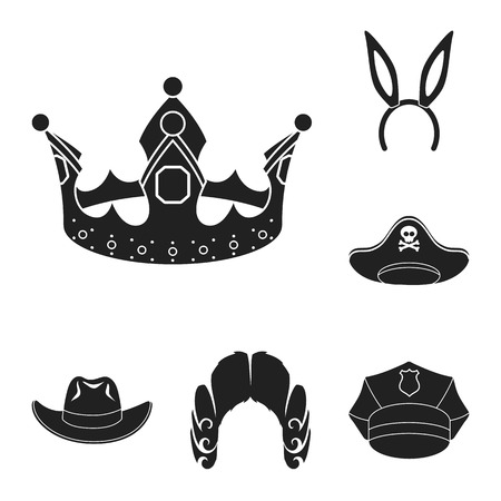 Different kinds of hats black icons in set collection for design.Headdress vector symbol stock web illustration.