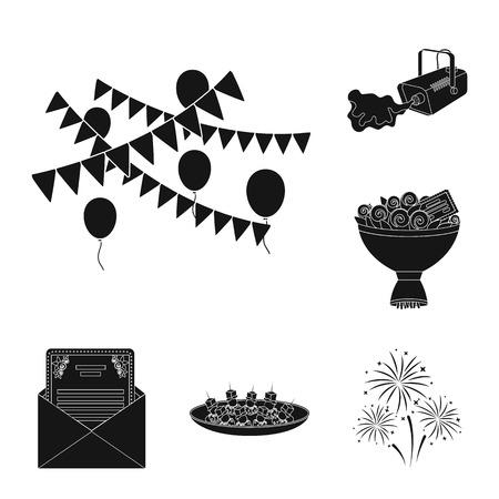Event Organisation black icons in set collection for design.Celebration and Attributes vector symbol stock web illustration. Ilustração