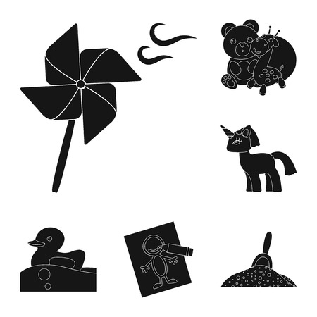 Children toy black icons in set collection for design. Game and bauble vector symbol stock web illustration.
