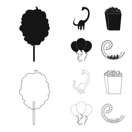 Sweet cotton wool on a stick, a toy dragon, popcorn in a box, colorful balloons on a string. Amusement park set collection icons in black,outline style vector symbol stock illustration web.