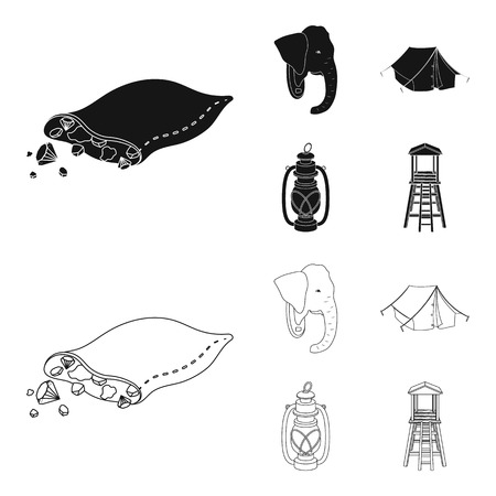 A bag of diamonds, an elephant head, a kerosene lamp, a tent. African safari set collection icons in black,outline style vector symbol stock illustration web. Illustration