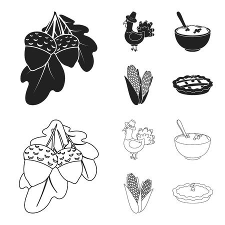 Acorns, corn.arthene puree, festive turkey,Canada thanksgiving day set collection icons in black,outline style vector symbol stock illustration web.