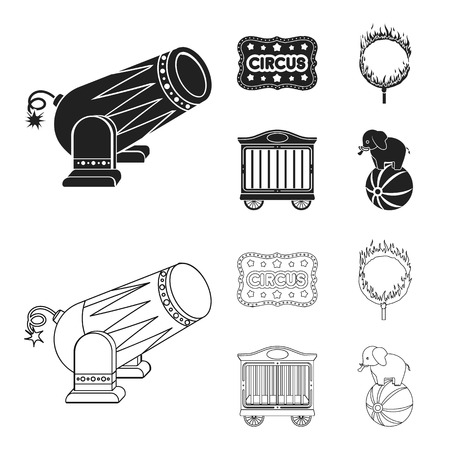 Circus trailer, circus gun, burning hoop, signboard.Circus set collection icons in black,outline style vector symbol stock illustration web.
