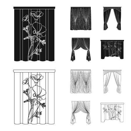 Cornices, garters, ribbon and other web icon in black,outline style.Machine, textiles, furniture icons in set collection. Vectores
