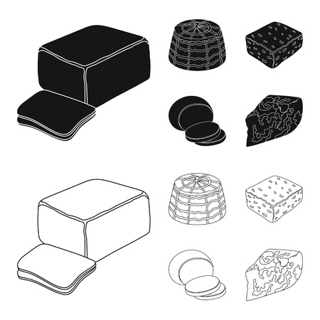 Mozzarella, feta, cheddar, ricotta.Different types of cheese set collection icons in black,outline style vector symbol stock illustration web. Иллюстрация