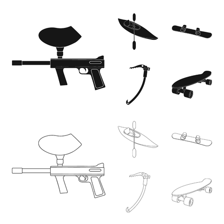 Paintball marker, kayak with a paddle, snowboard and climbing ice ax.Extreme sport set collection icons in black,outline style vector symbol stock illustration web.