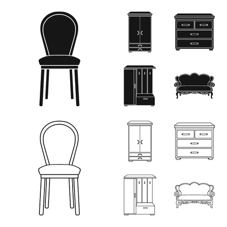 Armchair, cabinet, bedside, table .Furniture and home interiorset collection icons in black,outline style vector symbol stock illustration web.