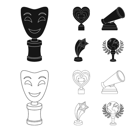 White Mask Mime for the best drama, a prize in the form of the heart and other prizes.Movie awards set collection icons in black,outline style vector symbol stock illustration web. Ilustrace