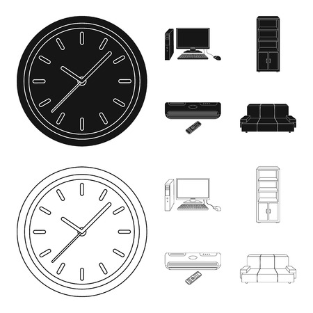 Clock with arrows, a computer with accessories for work in the office, a cabinet for storing business papers, air conditioning with remote control. Office Furniture set collection icons in black,outline style vector symbol stock illustration web.