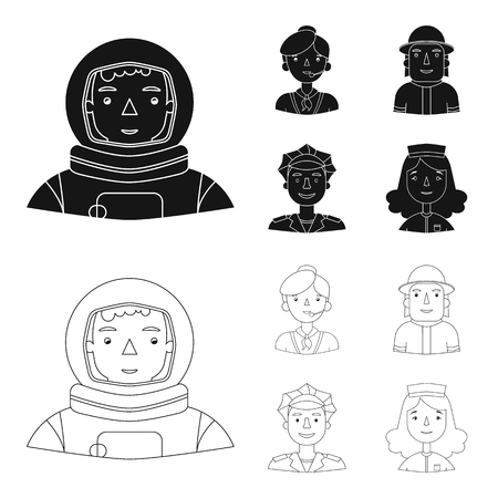 An astronaut in a spacesuit, a co-worker with a microphone, a fireman in a helmet, a policeman with a badge on his cap. People of different professions set collection icons in black,outline style vector symbol stock illustration web.