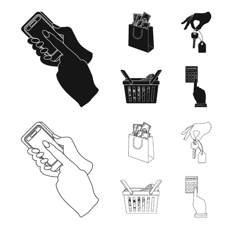 Mobile phone, a package with money and other web icon in black,outline style. a key in hand, a basket with food icons in set collection. Illustration