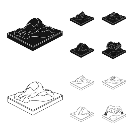 Mountains, rocks and landscape. Relief and mountains set collection icons in black,outline style isometric vector symbol stock illustration web. Illustration