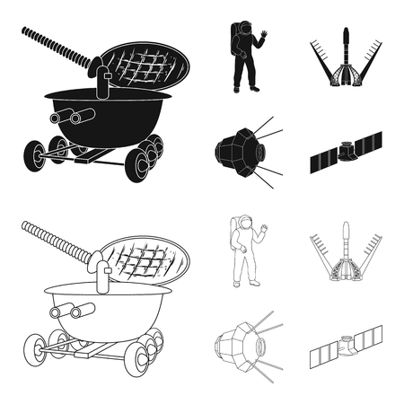 Lunokhod, space suit, rocket launch, artificial Earth satellite. Space technology set collection icons in black,outline style vector symbol stock illustration web.