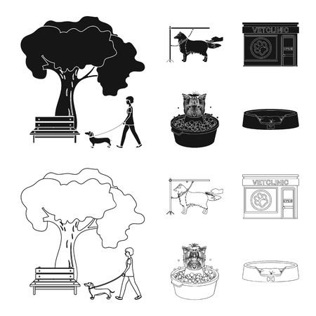 Walking with a dog in the park, combing a dog, a veterinarian office, bathing a pet. Vet clinic and pet care set collection icons in black,outline style vector symbol stock illustration web.
