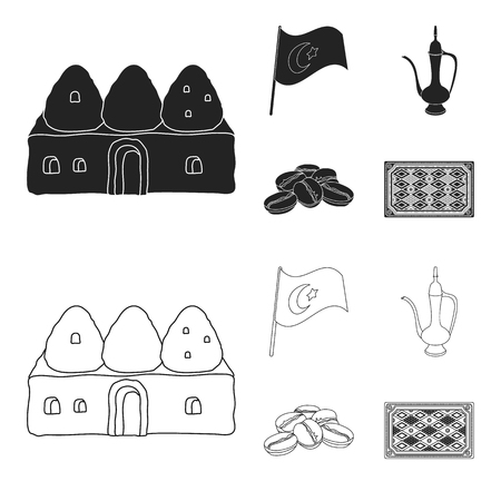 House hive, national flag, coffee pot copper, grains coffee.Turkey set collection icons in black,outline style vector symbol stock illustration web.