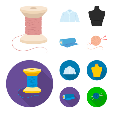 A man shirt, a mannequin, a roll of fabric, a ball of threads and knitting needles.Atelier set collection icons in cartoon,flat style vector symbol stock illustration web.