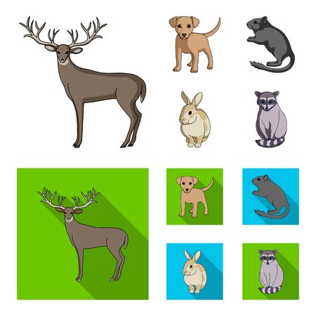 Chiot, rongeur, lapin et autres espèces animales.Animaux mis icônes de la collection en dessin animé, style plat vecteur symbole stock illustration web.