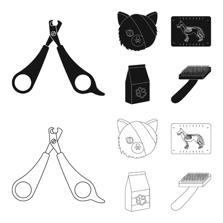 Scissors, cat, bandage, wounded .Vet Clinic set collection icons in black,outline style vector symbol stock illustration web.
