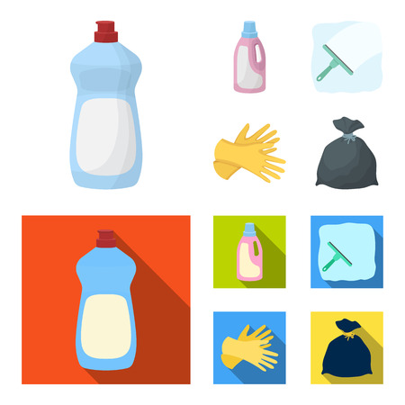 Gel for washing in a pink bottle, yellow gloves for cleaning, a brush for glass, a black bag for garbage or waste. Cleaning set collection icons in cartoon,flat style vector symbol stock illustration web.