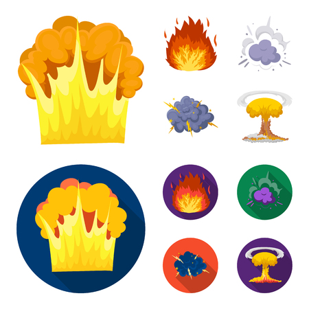 Flame, sparks, hydrogen fragments, atomic or gas explosion. Explosions set collection icons in cartoon,flat style vector symbol stock illustration web. Illustration