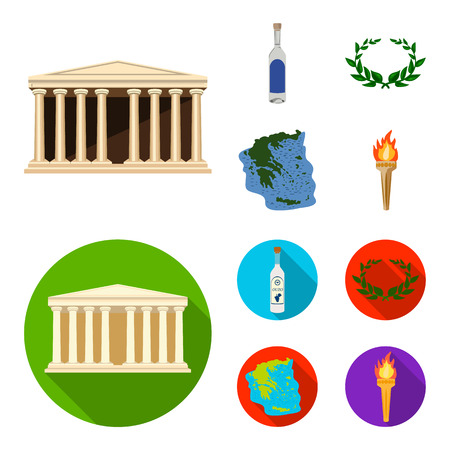 Greece, country, tradition, landmark .Greece set collection icons in cartoon,flat style vector symbol stock illustration web.