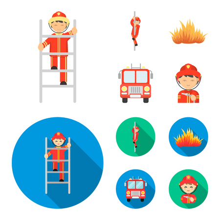 Fireman, flame, fire truck. Fire departmentset set collection icons in cartoon,flat style vector symbol stock illustration web. 일러스트