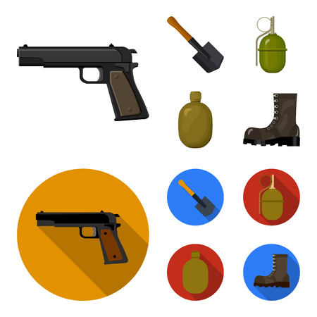Sapper blade, hand grenade, army flask, soldier boot. Military and army set collection icons in cartoon,flat style vector symbol stock illustration web.