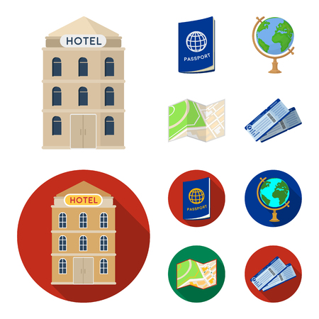 Vacation, travel, passport, globe .Rest and travel set collection icons in cartoon,flat style vector symbol stock illustration web.