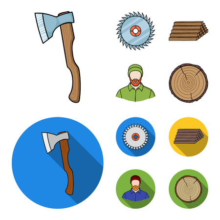 Circular saw, a working carpenter, a stack of logs. A sawmill and timber set collection icons in cartoon,flat style vector symbol stock illustration web.