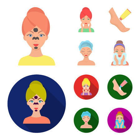 Face care, plastic surgery, face wiping, moisturizing the feet. Skin Care set collection icons in cartoon,flat style vector symbol stock illustration web.
