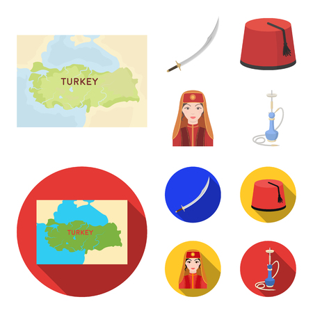 Turkish fez, yatogan, turkish, hookah.Turkey set collection icons in cartoon,flat style vector symbol stock illustration web.