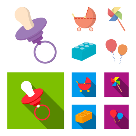 Stroller, windmill, lego, balloons.Toys set collection icons in cartoon,flat style vector symbol stock illustration web. Vectores
