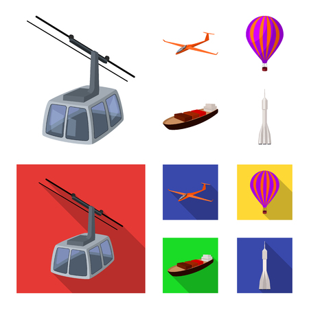 A drone, a glider, a balloon, a transportation barge, a space rocket transport modes. Transport set collection icons in cartoon,flat style vector symbol stock illustration web. Reklamní fotografie