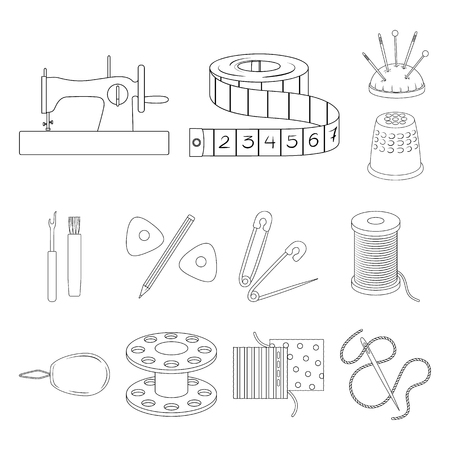 Sewing, atelier outline icons in set collection for design. Tool kit vector symbol stock web illustration. Zdjęcie Seryjne