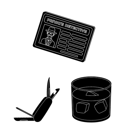 Detective and Attributes black icons in set collection for design.Detective Agency vector symbol stock web illustration. Illusztráció