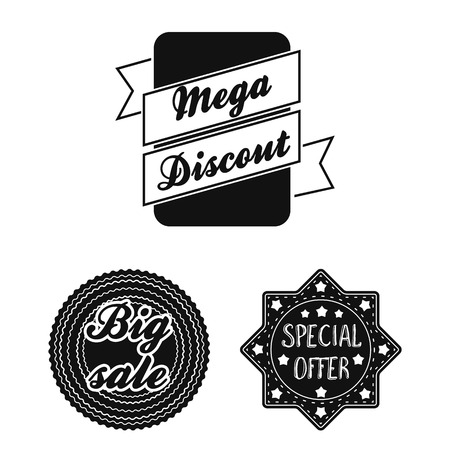 Different label black icons in set collection for design. Index and brand vector symbol stock web illustration. Иллюстрация