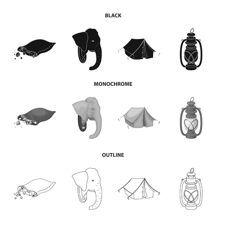 A bag of diamonds, an elephant head, a kerosene lamp, a tent. African safari set collection icons in black,monochrome,outline style vector symbol stock illustration web.