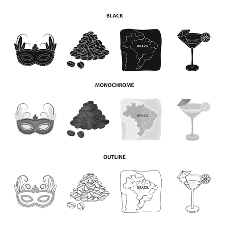 Brazil, country, mask, carnival . Brazil country set collection icons in black,monochrome,outline style vector symbol stock illustration web. 向量圖像