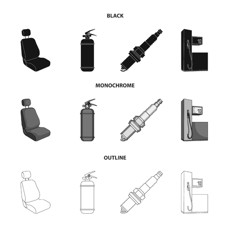 Chair with headrest, fire extinguisher, car candle, petrol station, Car set collection icons in black,monochrome,outline style vector symbol stock illustration web. Stock Illustratie