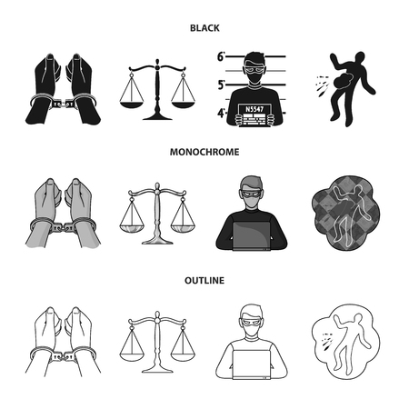 Handcuffs, scales of justice, hacker, crime scene.Crime set collection icons in black,monochrome,outline style vector symbol stock illustration web.