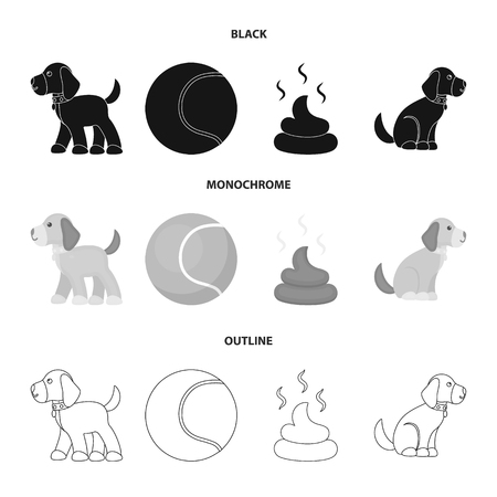 Dog sitting, dog standing, tennis ball, feces. Dog set collection icons in black,monochrome,outline style vector symbol stock illustration web.