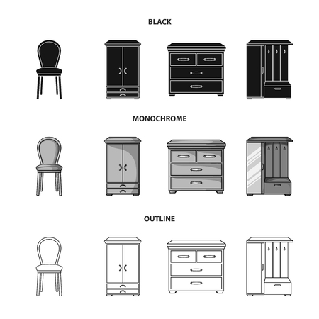 Armchair, cabinet, bedside, table .Furniture and home interiorset collection icons in black,monochrome,outline style vector symbol stock illustration web. Illustration