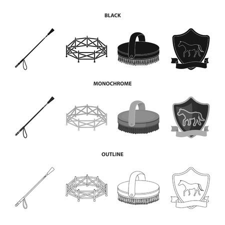 Aviary, whip, emblem, hippodrome .Hippodrome and horse set collection icons in black,monochrome,outline style vector symbol stock illustration web. Ilustração