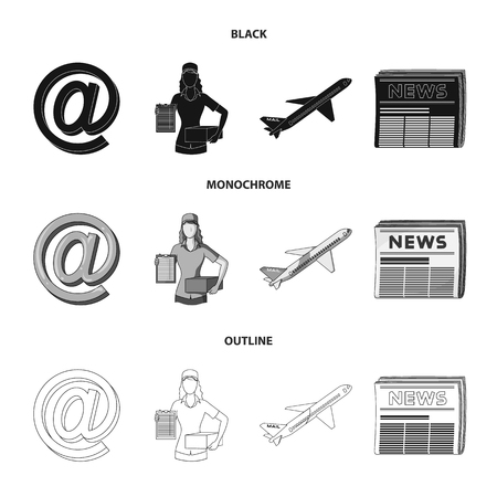 Email symbol, courier with parcel, postal airplane, pack of newspapers.Mail and postman set collection icons in black,monochrome,outline style vector symbol stock illustration web.
