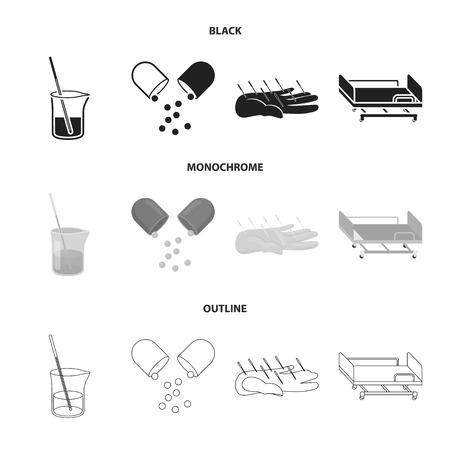 Solution, tablet, acupuncture, hospital gurney.Medicine set collection icons in black,monochrome,outline style vector symbol stock illustration web. Illustration