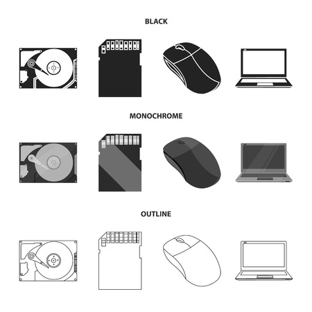 Computer mouse, laptop and other equipment. Personal computer set collection icons in black,monochrome,outline style vector symbol stock illustration web. Illustration