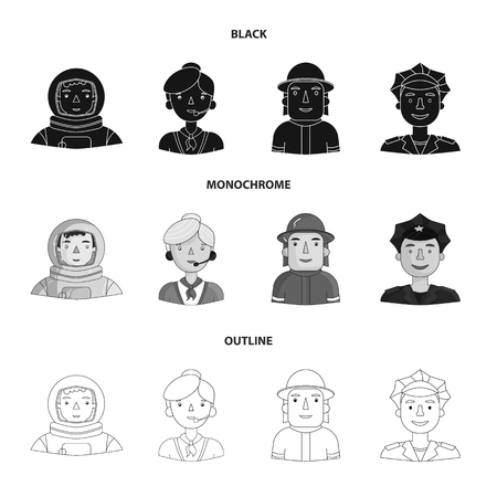 An astronaut in a spacesuit, a co-worker with a microphone, a fireman in a helmet, a policeman with a badge on his cap. People of different professions set collection icons in black,monochrome,outline style vector symbol stock illustration web.