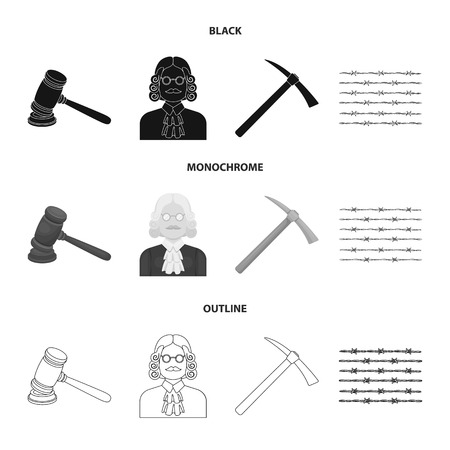 Judge, wooden hammer, barbed wire, pickaxe. Prison set collection icons in black,monochrome,outline style vector symbol stock illustration web. Illustration