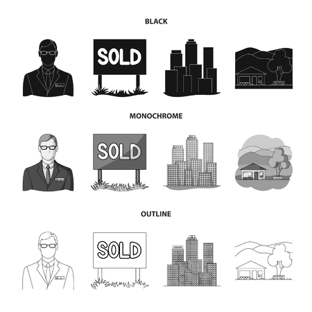 Employee of the agency, sold, metropolis, country house. Realtor set collection icons in black,monochrome,outline style vector symbol stock illustration web.