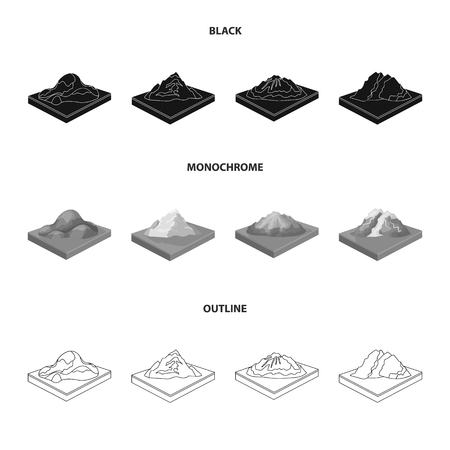 Mountains, rocks and landscape. Relief and mountains set collection icons in black,monochrome,outline style isometric vector symbol stock illustration web.